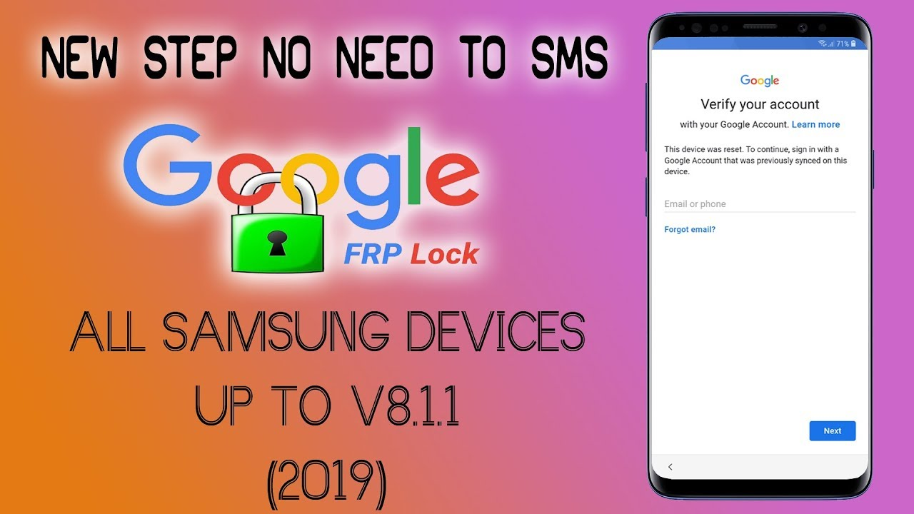 remove frp samsung s7 s8 s9 all version all security 2019 bypass google 1
