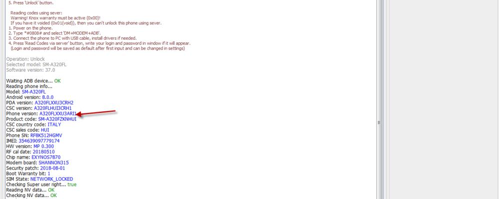 Free unlock Samsung a320fl u3 8.0.0 3